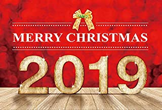 Leyiyi 6x4ft Photography Background Merry Christmas Backdrop 2019 Happy New Year Red Xmas Bokeh Halo Spot Characters Vinatage Wooden Floor Lay Flat Christain Church Photo Portrait Vinyl Studio Prop