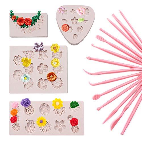 SnailGarden 18Stk Kuchen Silikon Backformen Set,14Stk Kuchen Modellierwerkzeug mit 4Stk 3D Blumen Silikon Formen,DIY Silikon Formen für Fondant Gelee Schokolade Marzipan Kuchen Muffin Süßigkeit Backen