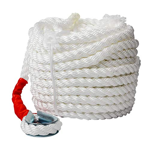 3/4' x100' Anchor Rope, Polypropylene Docking Dockline Boat/Sailboat/Mooring/Pull Lines with Thimble, 12592LB Breaking Strain