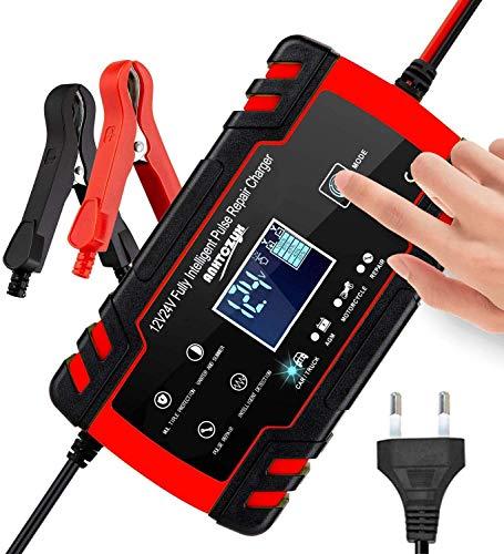 3T6B Cargador de Batería Inteligente Portátil, Pantalla LCD de 12V / 4A 24V con Múltiples Protecciones Tipo de Reparación para Batería de Automóvil (Rojo)