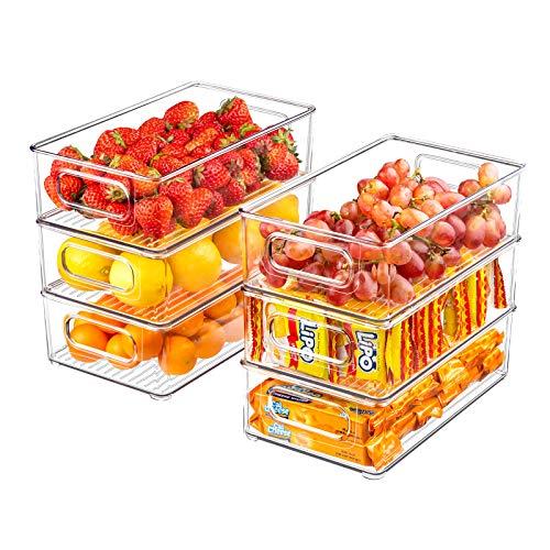 "Refrigerator Organizer Bins, 6 Pack Clear Plastic Food Storage Bins for Freezer, Cabinet, Countertops, Cupboard, Kitchen Pantry Organization, BPA Free, 10"" Long"
