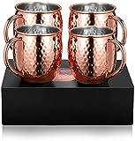 tazza moscow mule bicchieri per cocktail 4 grandi bicchieri di rame doppia parete nessun rivestimento fatto a mano liscio gin, russo, vodka, regalo