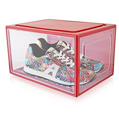 Bituxx Juego de 6 cajas apilables de plástico para zapatos, hasta la talla 47, color rojo