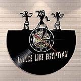 fdgdfgd Reloj de Pared Multicolor 3D Reloj de Pared de Elefante Egipcio Arte de Pared de Danza Reloj de Pared de Vinilo de Danza de Egipto Reloj de Pared de Registro de jeroglíficos Egipto año Nuevo