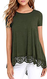 Foowni Women Casual O-Neck Short Sleeve Loose Lace Patchwork Tops Tunic Blouse