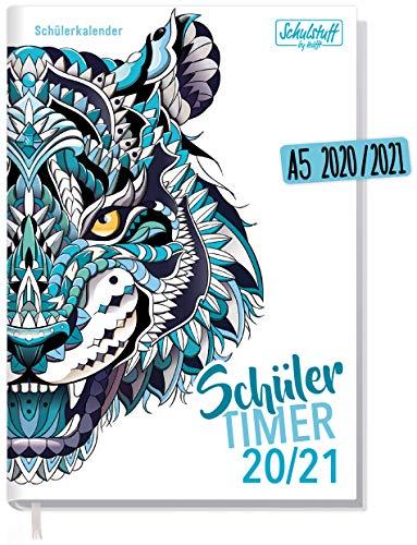 Schulstuff Schülertimer 2020/2021 A5 [Blue Tiger] Schülerkalender, Schüler-Tagebuch, Schülerplaner - Organisiert durchs neue Schuljahr   nachhaltig & klimaneutral