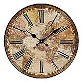 FQXM Reloj de Pared Vintage de Madera - Mapa del Mundo, Silencio silencioso Reloj de Pared de Madera con Mapa Mundial clásico Vintage Número Romano Cocina Sala de Estar Decoración del hogar
