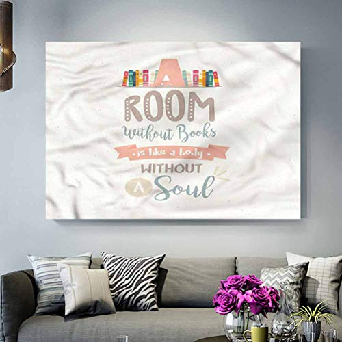 ParadiseDecor Custom Pattern Poster No Frame Book,Book Shelf and a Quote Easter Gifts for Teenage Girls L30 x H60 Inch