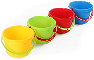 NUOLUX 4pcs Plastic Beach Pails Buckets Creative Sand Tools Beach Playing Water Toys for Pools for Kids (Random Color)