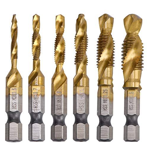 YDLQWCZ Combination Drill Tap Bit Set 6 Piece Hex Shank Quick Change HSS Titanium Coated Spiral Tap Drill Bit Include M3 M4 M5 M6 M8 M10 Spiral Screw Tap Set