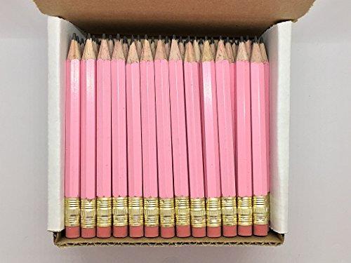 Mitad lápices con goma de borrar–Golf, aula, Pew–Hexagonal, afilada, 2Pencil, color–Pastel rosa, caja de 72lápices de bolsillo de Golf TM