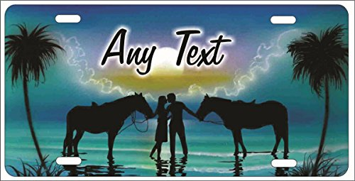 Couple on The Beach with Horses Airbrush Aqua Beach Scene Personalized Novelty Front License Plate for Lovers Decorative Vanity Car Tag