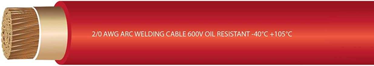 EWCS 2/0 Gauge Premium Extra Flexible Welding Cable 600 Volt - Red - 25 Feet - Made in the USA