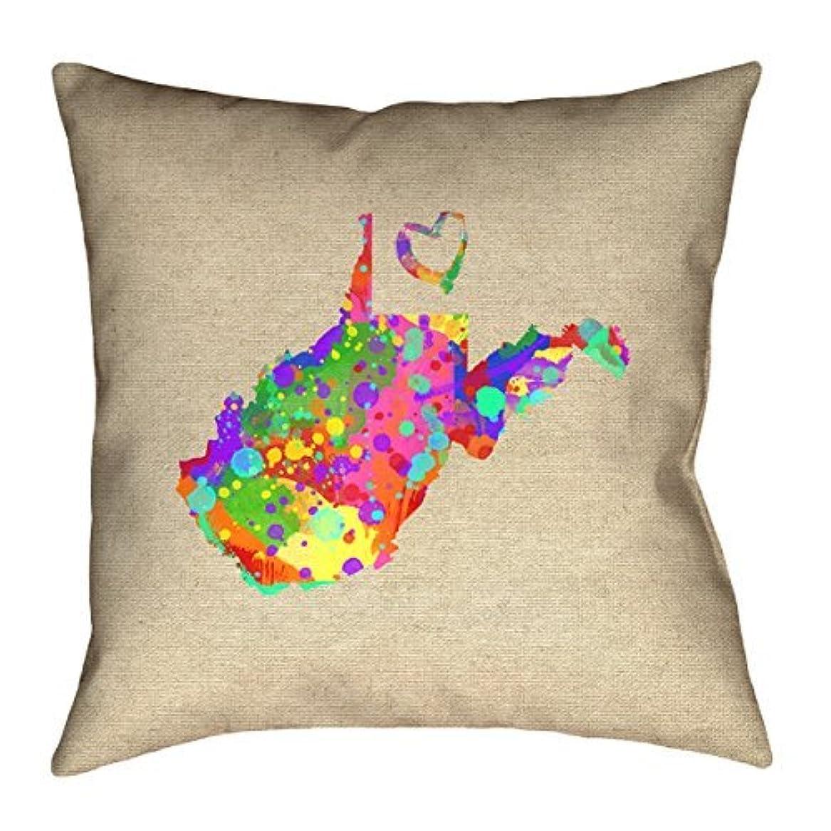 水を飲むシェフご意見ArtVerse Katelyn Smith West Virginia Love Watercolor 18 x 18 Pillow-Spun Polyester [並行輸入品]