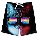 Funnycokid Ragazzi Pantaloncini da Bagno Nuotare Pantaloncini Stampare Spiaggiawear Sport Running Bordo Pantaloncini, Hacker Cat, 11-12 Anni