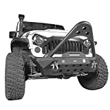 Hooke Road Jeep Wrangler JK Stinger Bumper, Aggressive Bull Bar Front Bumper w/LED Lights for Jeep Wrangler JK 2007-2018