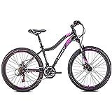 Bicicleta de Montaña para Mujer, 21 Velocidades Doble Freno Disco Hard Tail Bicicleta, Bicicleta BTT de Montaña para Niña,24 Inches Black