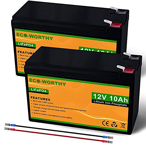 ECO-WORTHY (2 pack) 12V 10Ah LiFePO4 Lithium Iron Phosphate Deep Cycle Rechargeable Battery with Built-in BMS, Perfect for Trolling Motor, Kids Scooter, Fishfinder, Ham Radio, Power Wheels, Lawn Mower