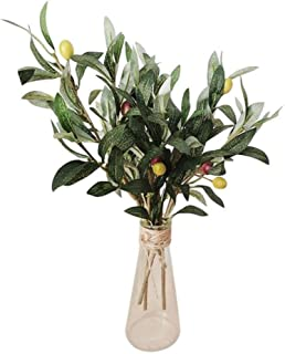 SUXIAO 3pcs Artificial Tree Branches with Olive Fruit Leaves For Home Party Wedding DIY Decoration Flowers Plants Wreath,Green,M