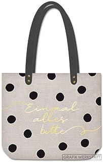 Grafik verkstad shopper linne damer väska När allt är vänligt, grå