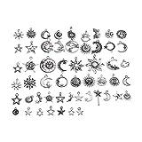 FKJSP Juego de 54 colgantes de sol y luna, para manualidades, accesorios de joyería, varios estilos (color metálico: 1)