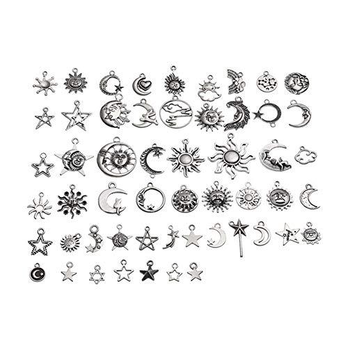54pcs / Set Sol y la Luna DIY de los Colgantes Collar de Joyas Retro Craft Supplies joyería y Accesorios Estilos Mezclados Mujer niña para (Metal Color : 1)