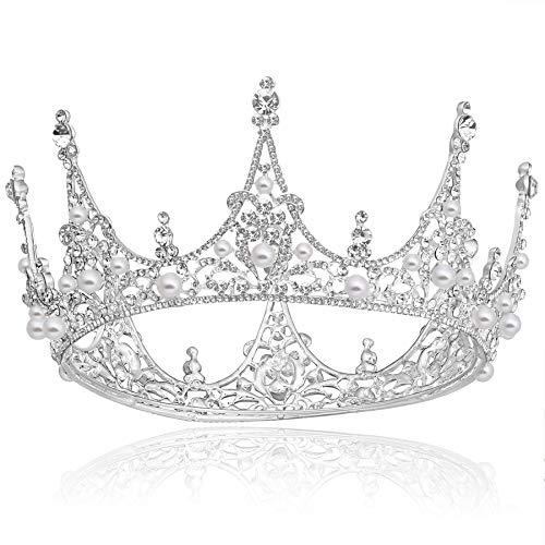 Coucoland Braut Tiara Hochzeit Runde Krone Blinkende Prinzessin Diadem Kristall Geburtstagskrone Damen Königin Krone Fasching Kostüm Accessoires (Silber)