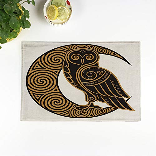 rouihot Set of 4 Placemats Knot Owl in Celtic of The Moon White Pagan Non-Slip Doily Place Mat for Dining Kitchen Table
