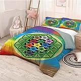 HELLOLEON Abstract Paquete de 3 (1 funda de edredón y 2 fundas de almohada), diseño de árbol de la vida con chacra espiritual y iconos del universo patrón de flores de poliéster (King), multicolor