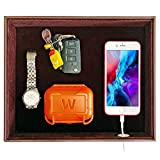 SUKKMORI Valet Tray Table Organizer - PU Leather Nightstand Organizer for Men and Women - Jewelry Accessories Catchall Vanity Tray for Dresser Desk Top - Key and Wallet Box - Bedside Charging Station