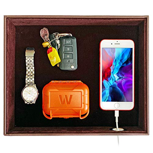 SUKKMORI Valet Tray Table Organizer - Leather Nightstand Organizer for Men and Women - Jewelry Accessories Catchall Vanity Tray for Dresser Desk Top - Key and Wallet Box - Bedside Charging Station