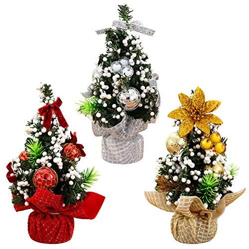 LAEMILIA 3 Stück Mini Tannenbaum Weihnachtsdeko Künstlicher Weihnachtsbaum Klein Tischdeko mit Weihnachtskugeln Schleife Grün Christbaum Weihnachten Dekoration Prop (Deko-Set, 3)