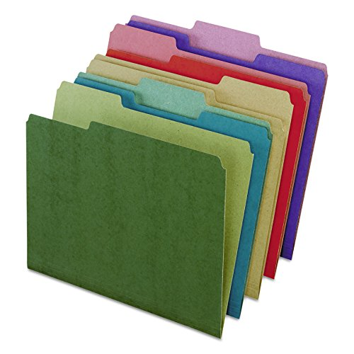 Earthwise by Pendaflex 04350 Recycled File Folders, 1/3 Top Tab, Ltr, Assorted (Box of 50)