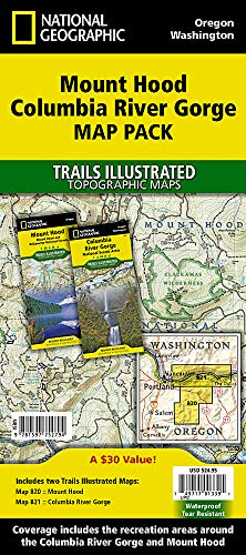 Mount Hood, Columbia River Gorge [Map Pack Bundle] (National Geographic Trails Illustrated Map)
