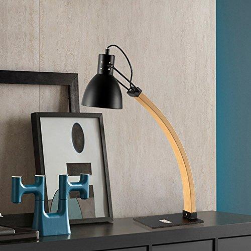 SKC Lighting-lampe de table Nordique Moderne Simple Lecture En Bois Lecture Table Lampe Chambre Salle D'étude Salon Table Lampe (Couleur : Noir)