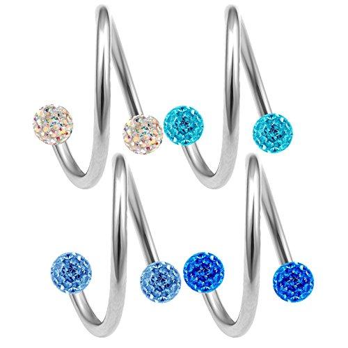 bodyjewelrytrend 4 Stück spiralen Piercing spirale 1,2mm 12mm Cartilage Helix augenbrauenpiercing Ohr schmuck Tragus kristallkugel - E5UCI