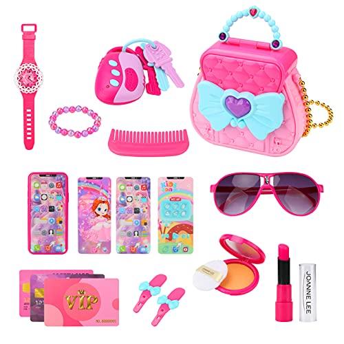 Yideng 17 Piezas Kit de Maquillaje para niños, Girls Play Juego de Juguetes de Maquillaje Lavable de simulación con Bolsa de cosméticos, Regalo para Halloween Navidad cumpleaños Niñas de 3 años o más