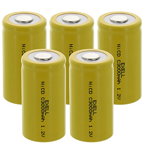 5x Exell C Size 1.2V 3000mAh NiCD Flat Top Rechargeable Batteries for meters, radios, hybrid automobiles, high power static applications (Telecoms, UPS and Smart grid), radio controlled devices