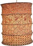 Guru-Shop Runde Papier Hängelampe, Lokta Papierlampenschirm Kailash, Handgeschöpftes Papier - Rot/orange, Lokta-Papier, 35x28x28 cm, Handgemachte Deckenleuchte
