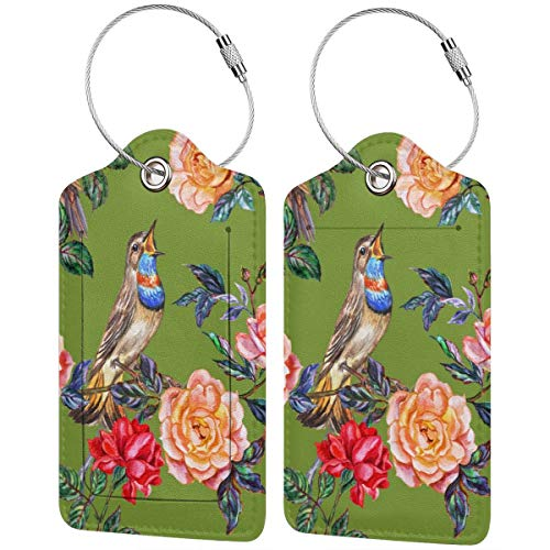 Watercolor Roses Birds Personalized Leather Luxury Suitcase Tag Set Travel Accessories Luggage Tags