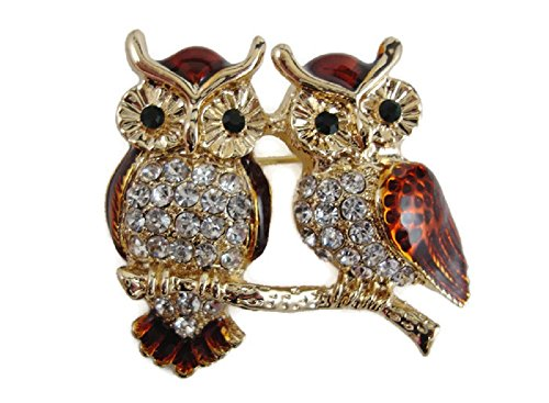 Signature Beautiful Two Gold Enamel Crystal Owls Brooch