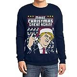 Shirtgeil Make Christmas Great Again! - Trump Ugly Sweater Felpa/Maglione da Uomo Medium Navy