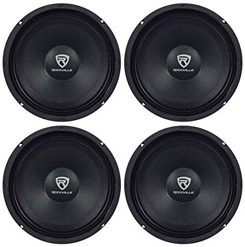 (4) Rockville RM84PRO 8  4 Ohm 1200 Watt SPL Midrange Mid-Bass Car Speakers