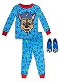 Paw Patrol Boy's 2 Piece PJ Set with Slipper,Blue,100% Cotton,Toddler Boy's Size 3T
