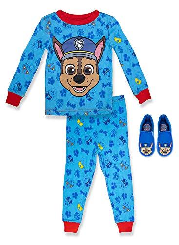 Paw Patrol Boy's 2 Piece PJ Set with Slipper,Blue,100% Cotton,Toddler Boy's Size 4T