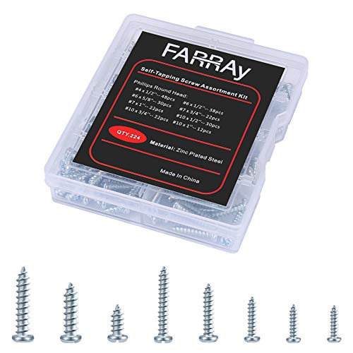 FARRAY Self Tapping Screws Assortment Kit, 224pcs Galvanized Carbon Steel Phillips Set Screws, Wood Screws Kit for Wood and Installation