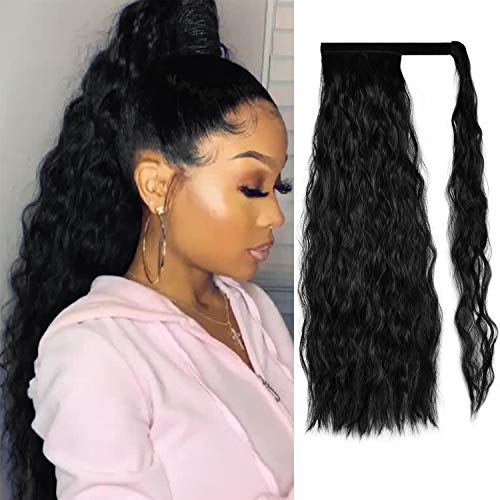 Sofeiyan Ponytail Extension 20 Inch Long Curly Wave Wrap Around Synthetic Hair Extension for White Black Women Party Daily Use, off Black
