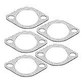 Suuonee Guarnizione di scarico, 5 pezzi di 2,5'lega di alluminio collettore di scarico gi¨´ collettore di tubo collettore guarnizione flangia 2 bullone