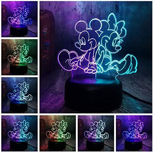 Night Light Cartoon Lovely Mickey & amp; Minnie Mouse Multicolor 3D RGB LED Night Light Misto a doppio colore Cambia lampada da tavolo Regalo per bambini