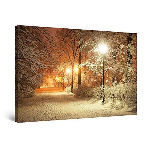 Startonight Bilder Winter Park, Leinwandbilder Moderne Kunst, Landschaft Wanddeko Kunstdrucke, Wandbilder XXL 80 x 120 cm, Tag Nacht Bild